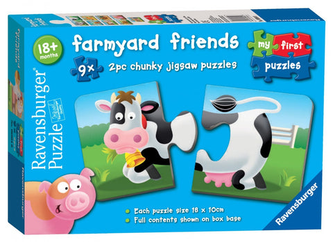 Farmyard Friends 9x  2 piece puzzles