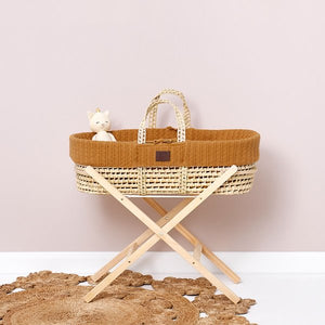 The little green sheep Natural knit Moses basket & mat HONEY