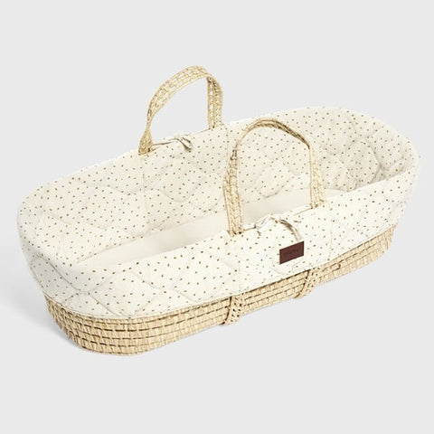 Quilted Moses basket & mat LINEN RICE