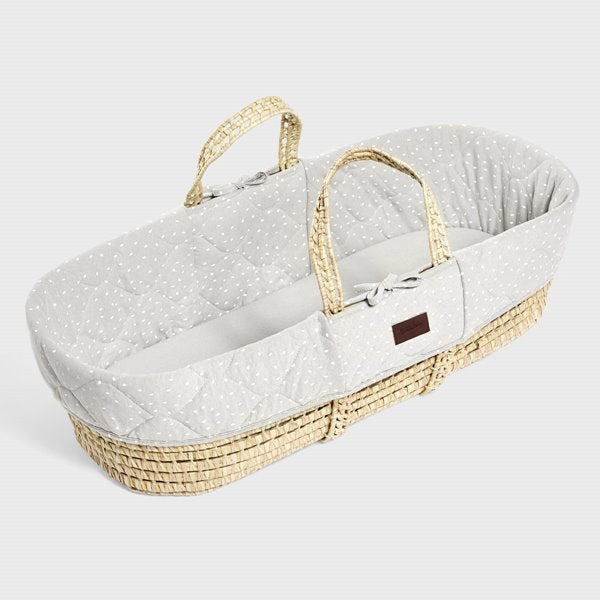 Quilted Moses basket & mat DOVE RICE