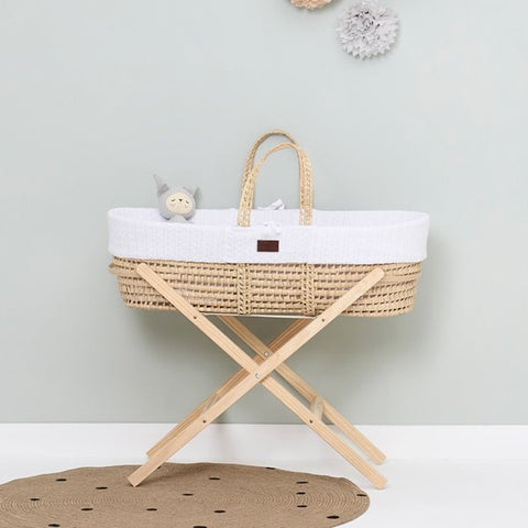 The little green sheep Natural knit Moses basket & mat WHITE