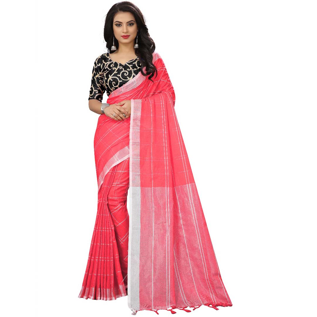 f67f1c0f04 Beautiful Pink Colour Chanderi Silk Fancy Saree – Nistha Fab