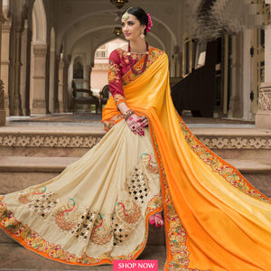 Marvellous Yellow & Cream Colored Georgette Saree