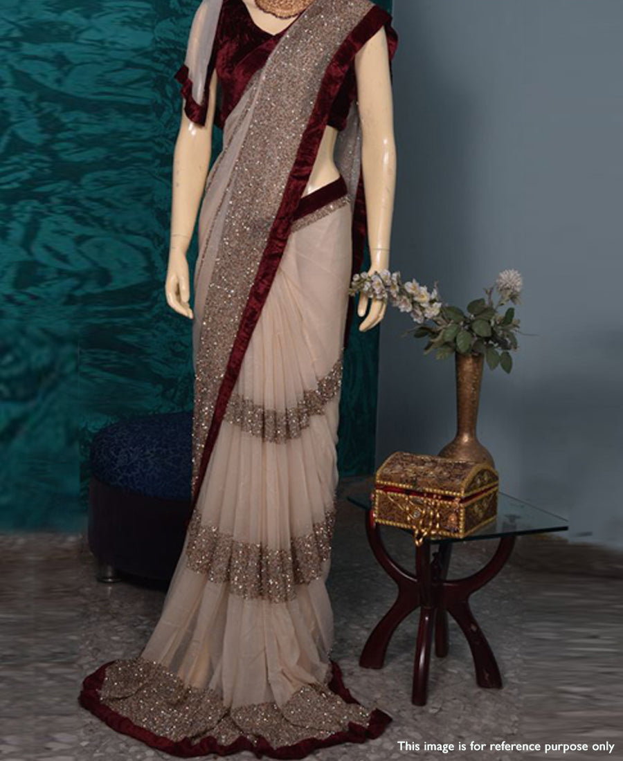e80ca9f2f5 Cream And Maroon Georgette Embroidery Sequence Work Saree With Velvet – Nistha  Fab