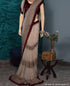 Cream And Maroon Georgette Embroidery Sequence Work Saree With Velvet Blouse Piece