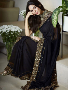 Ethnic Partywear Black Georgette Sequence Embroidery Border Saree