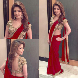 Excellent Red Colored Designer Georgette Festive Wear Saree