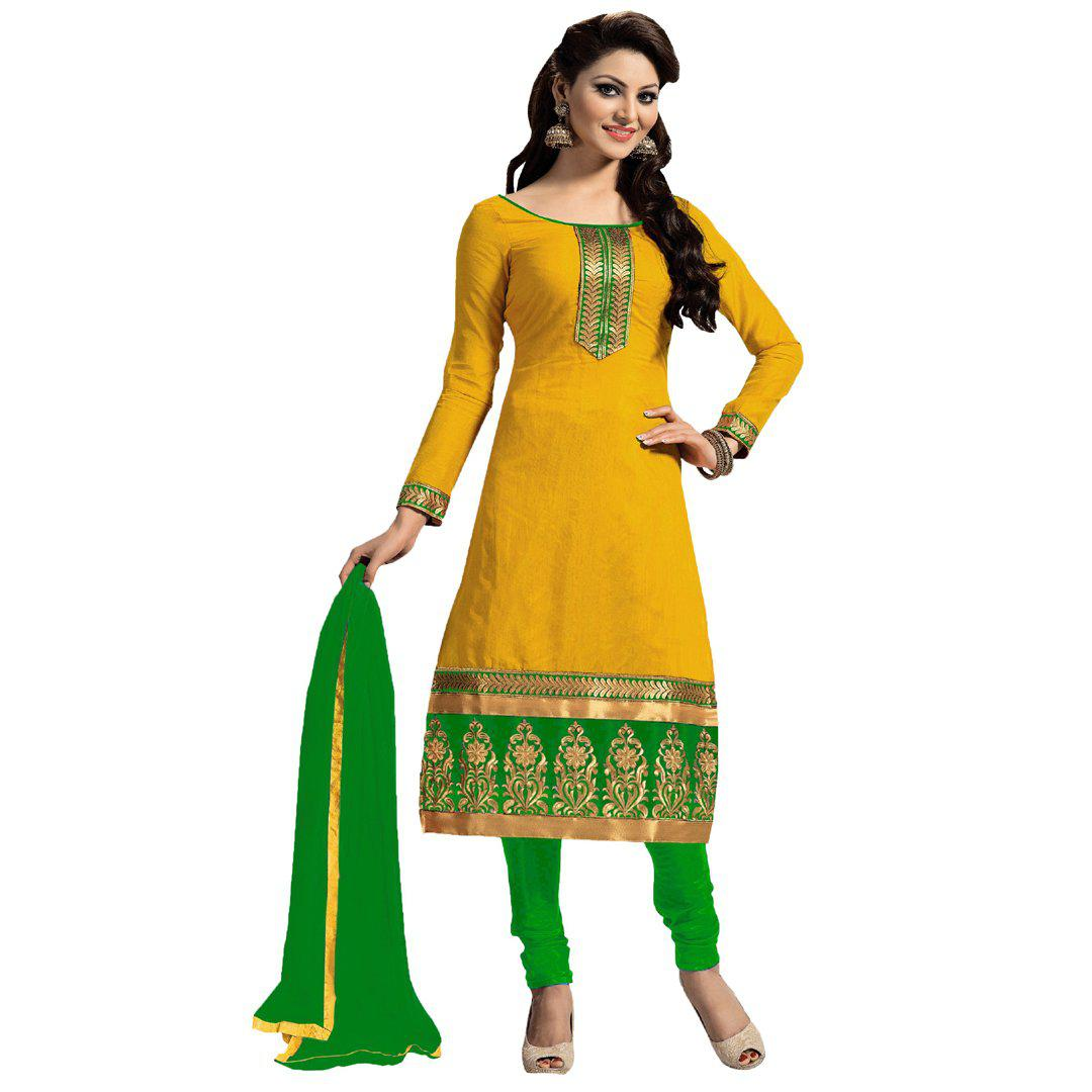dc0c078c4f Entrancing Yellow-Green Colored Designer Georgette & Cotton Party Wear Dress