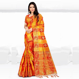 Admirable Orange And Red Colored Designer Banglory Silk Festive Wear Saree-Palav Art