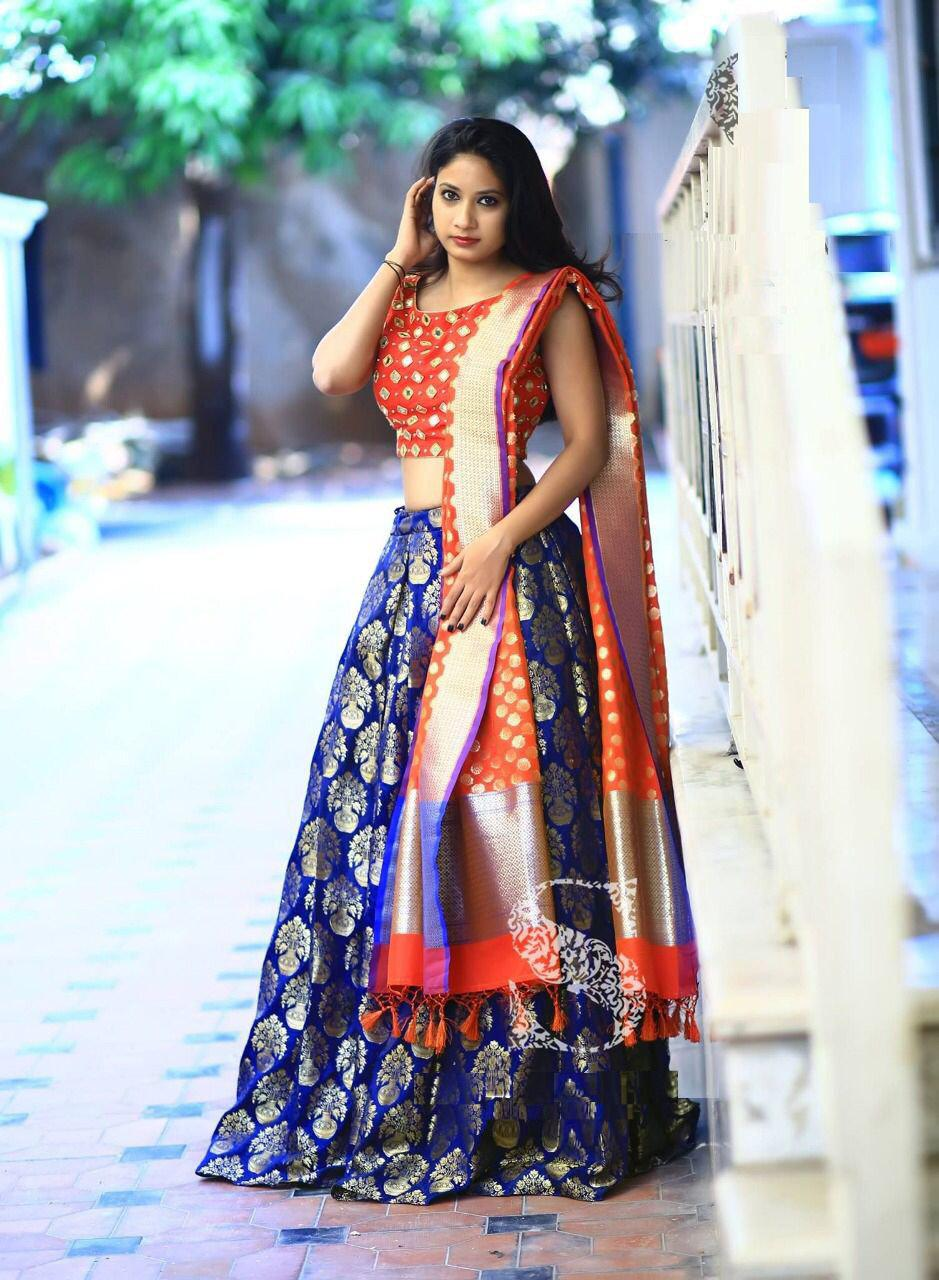 0c7389c7f Adorable Blue And Orange Colour Taffeta Silk Indian Silk Latest Designer  Bridal Lehenga Choli-Palav