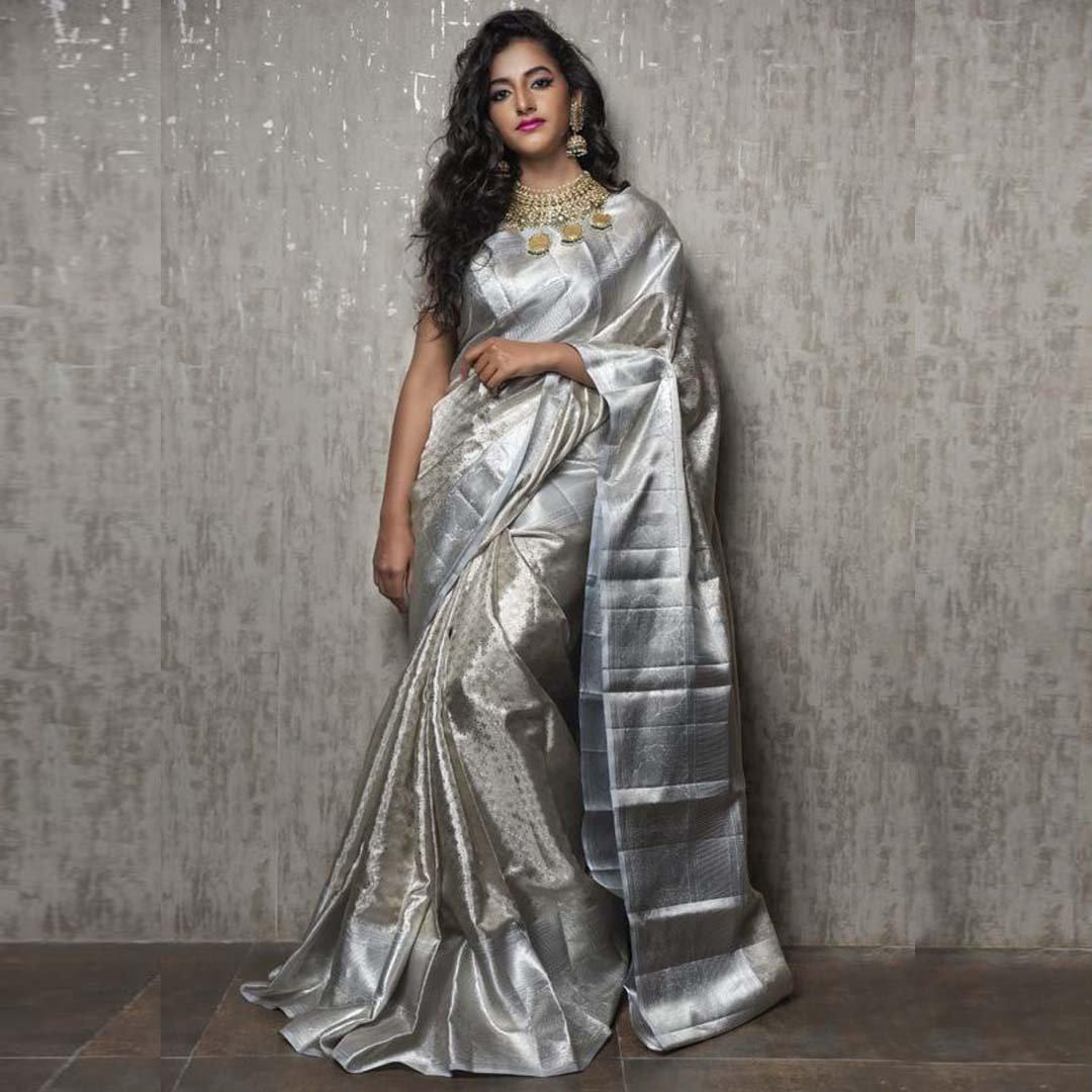 dcc2e1c51fe Blend of Silver Soft Silk Saree With Blouse – Nistha Fab