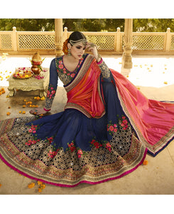 New Designer Blue Color Partywear Embroidered Work Saree