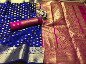 Classic Blue-Pink Colored Designer Banarasi Silk Festive Wear Saree-Palav Art