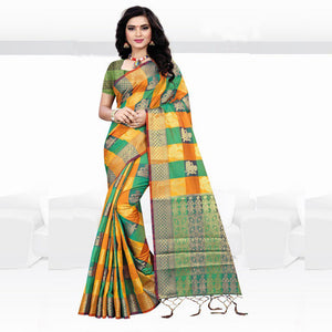 Delicious Multi Colored Designer Banglory Silk Saree With Blouse-Palav Art