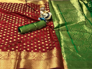 Opulent Maroon-Green Colored Designer Banarasi Silk Festive Wear Saree-Palav Art