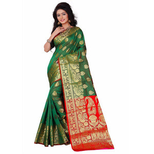 Refresing Green Colored Designer Banarasi Silk Saree Festive Wear Saree-Palav Art