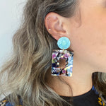 Open Square Drop Earrings in Multicolor with Teal Stud