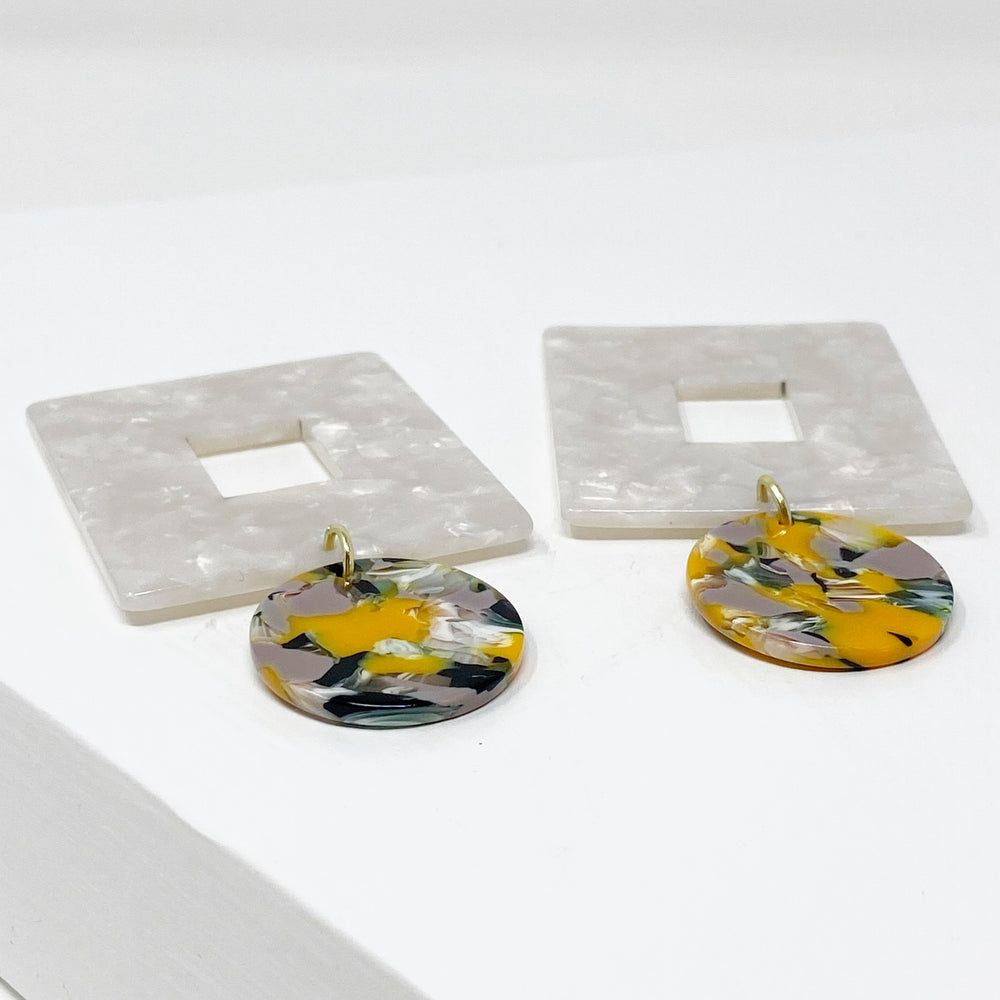 Open Square Drop Earrings in White with Yellow, Green and Purple Stud
