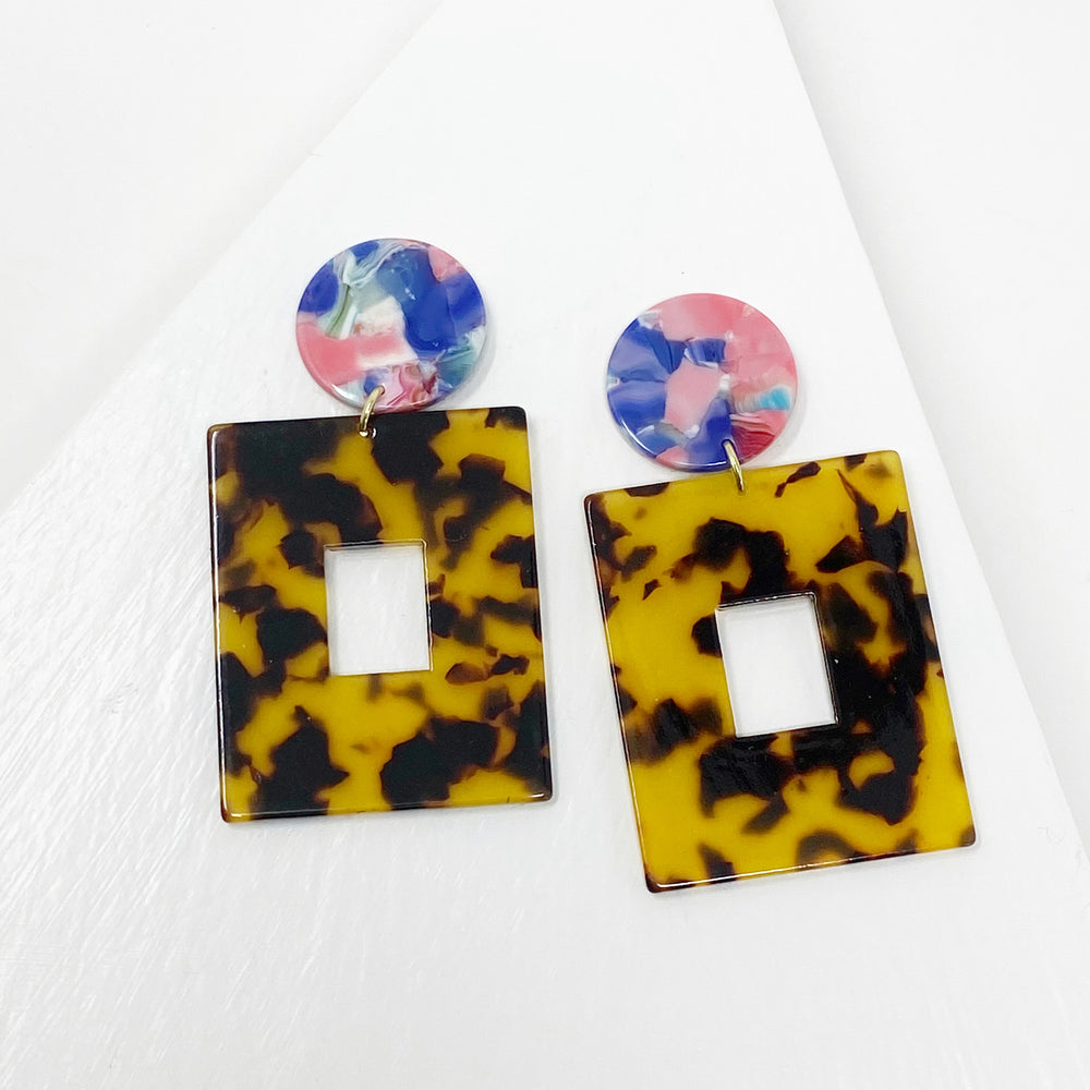 Open Square Drop Earrings in Tortoise with Pink, Blue and Teal Stud
