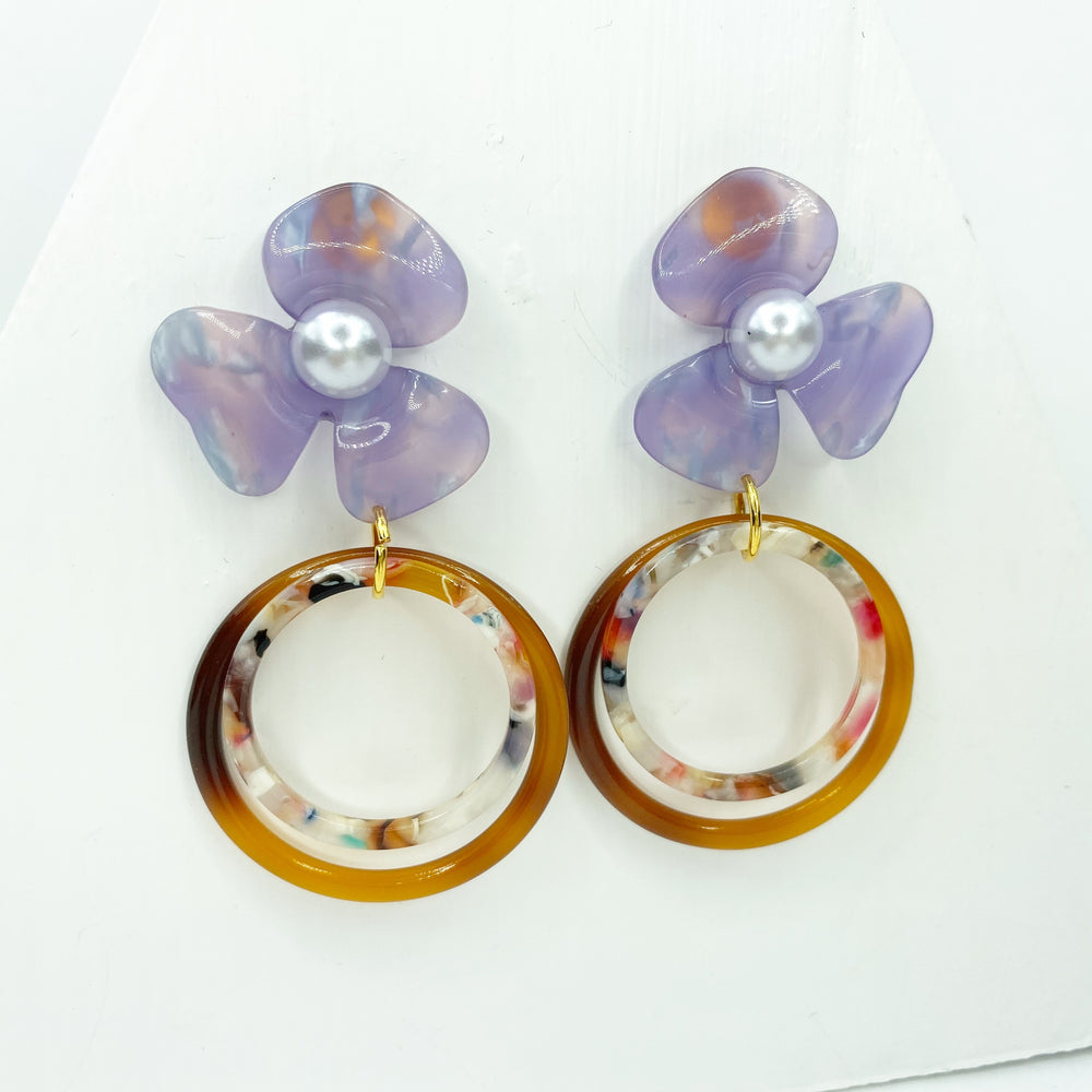 Pearl Water Poppy in Purple with Brown and Light Multicolor Double Drop Hoop