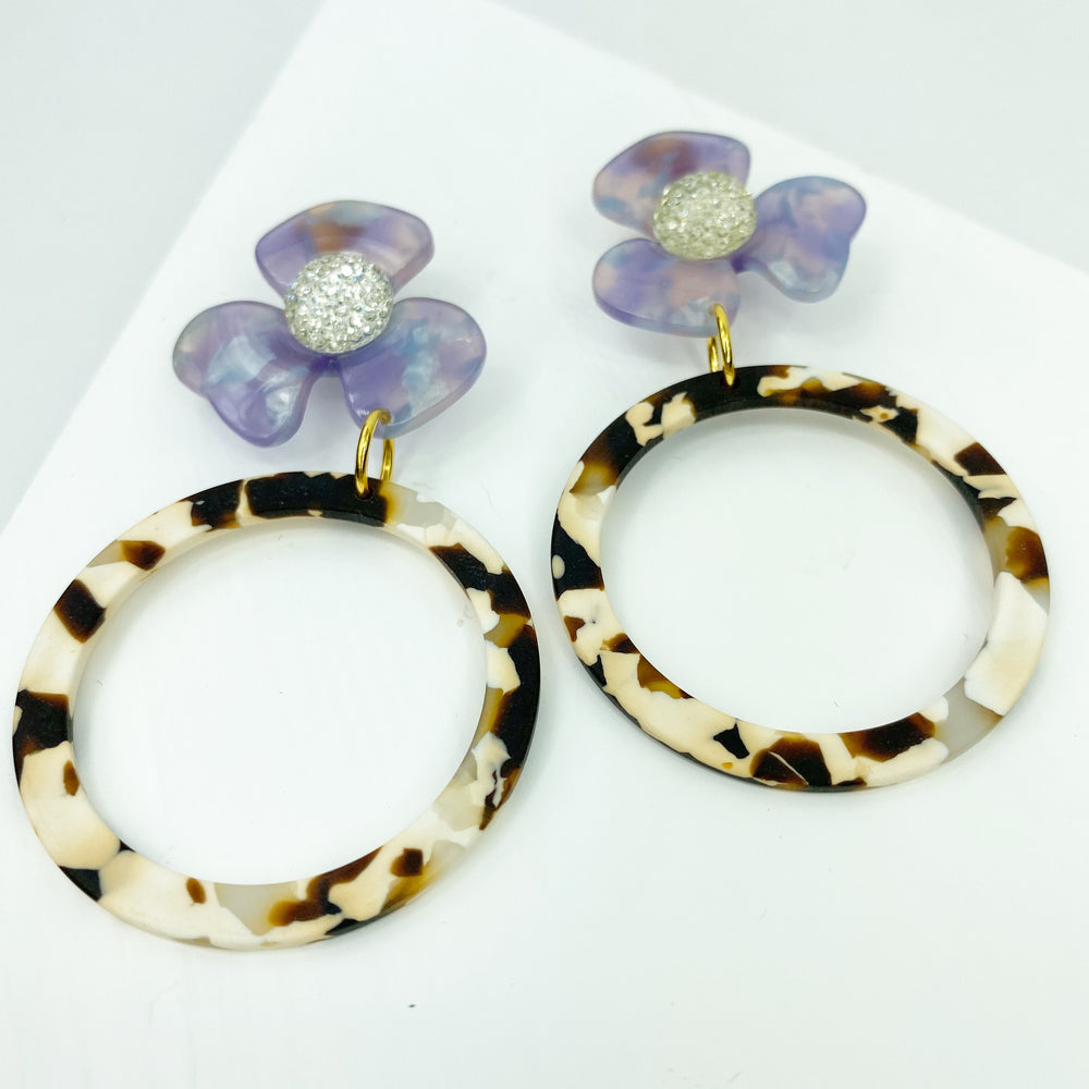 Crystal Water Poppy in Purple with Brown and White Matte Drop Hoop