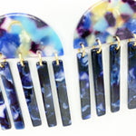 Half Moon Earrings in Purple, Blue and Yellow with Midnight Blue Fringe