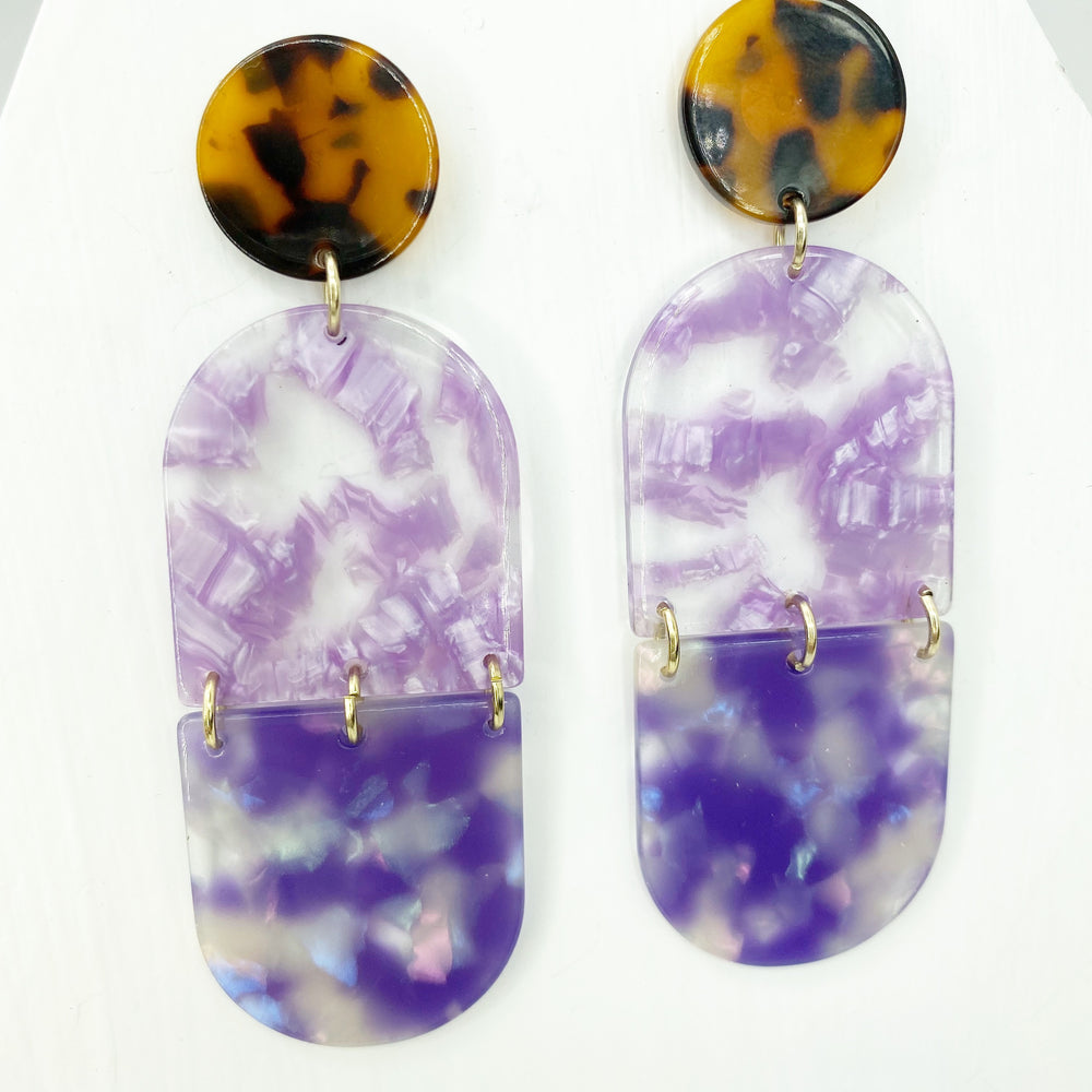 Double Tab Drop Earrings in Purple with Tortoise Stud
