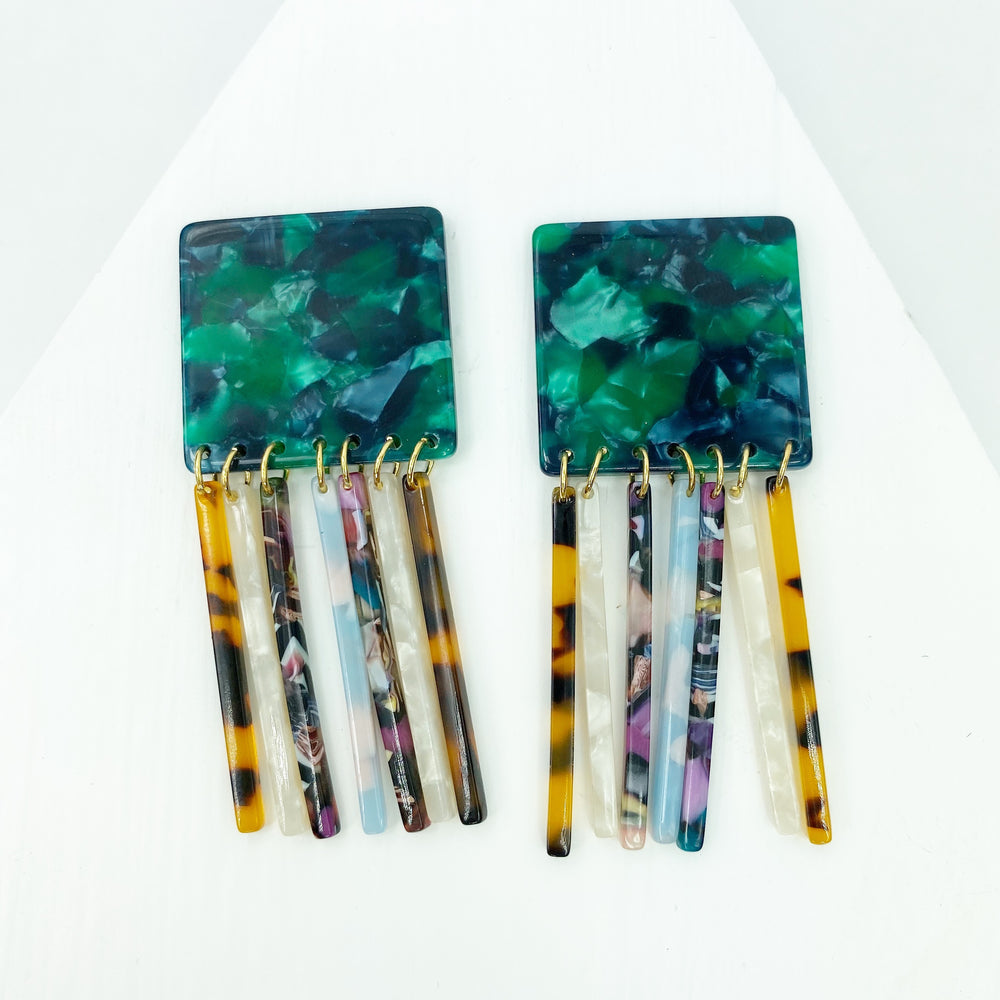 Square Earrings in Green with Mixed White, Tortoise, Multicolor and Blue Fringe