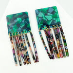 Square Earrings in Green with Multicolor Fringe
