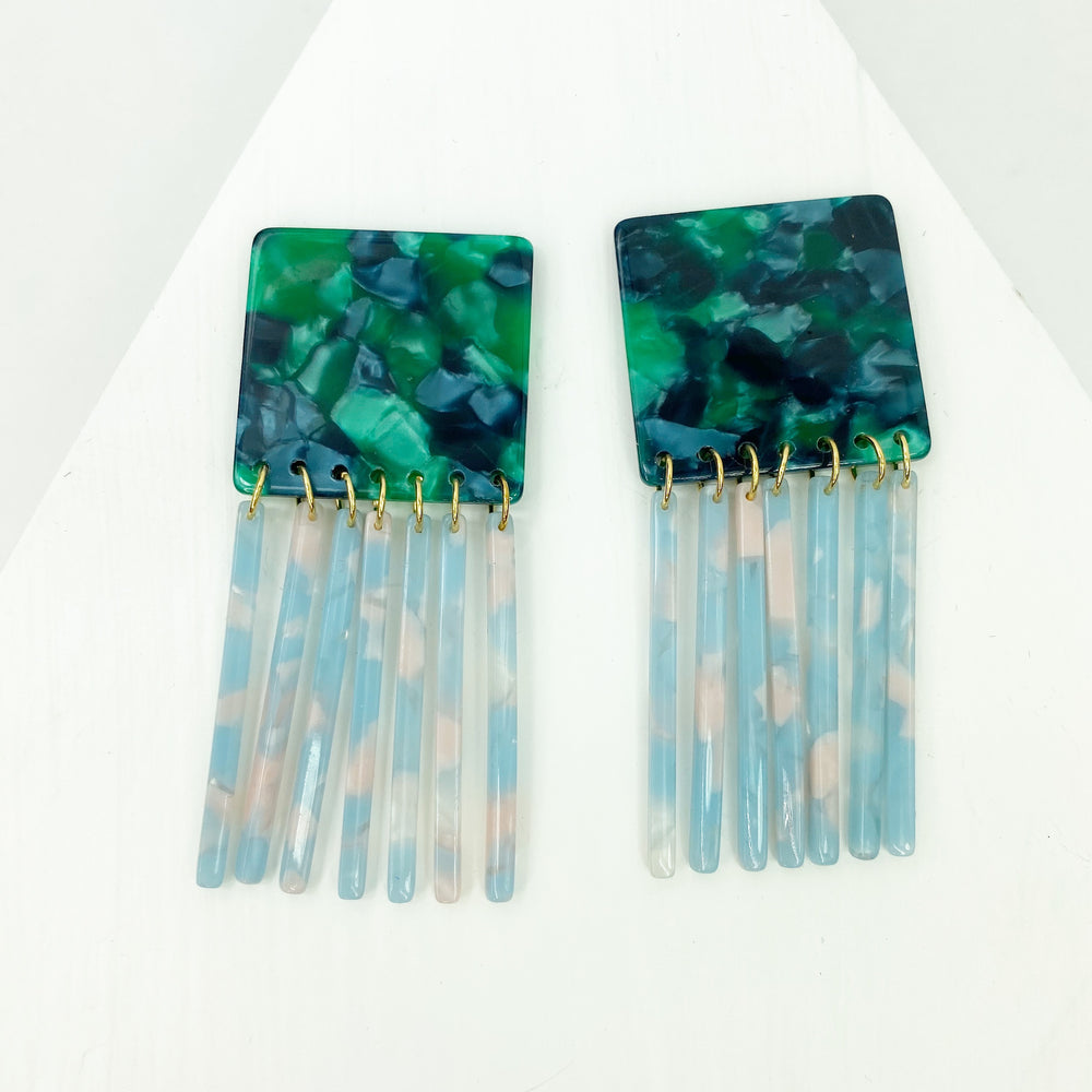 Square Earrings in Green with Blue Fringe