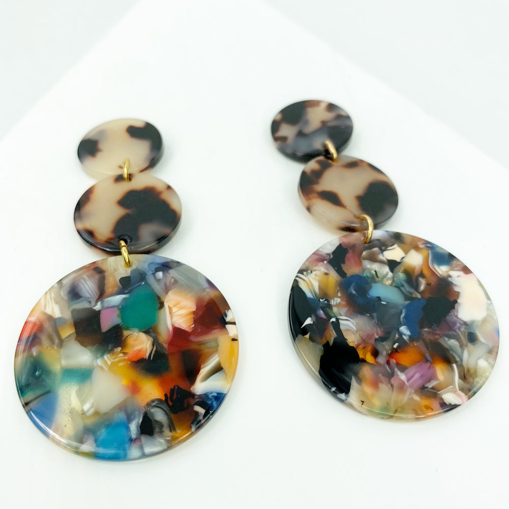 Dot Drop Earrings in Dark Multicolor with Blond Tortoise Stud