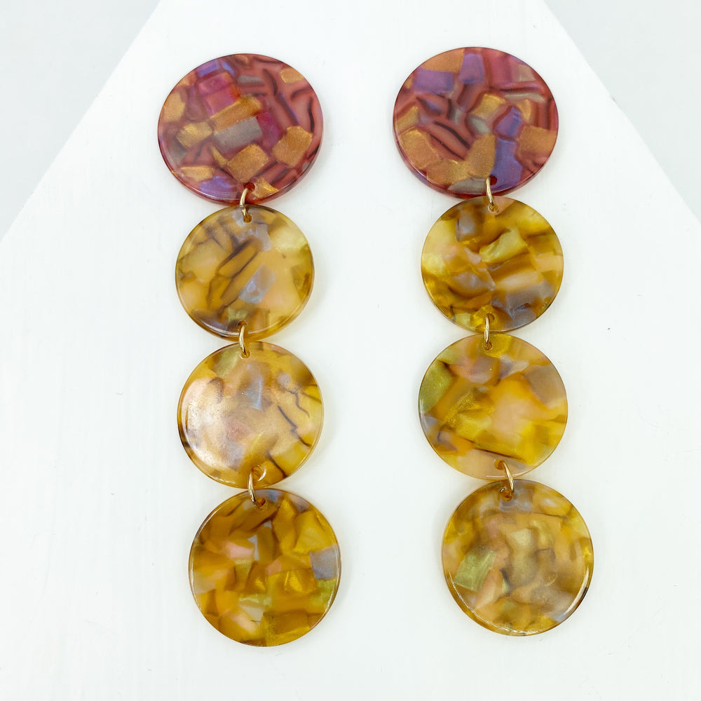 Dot Drop Earrings in Iridescent Camel with Pink Iridescent Stud