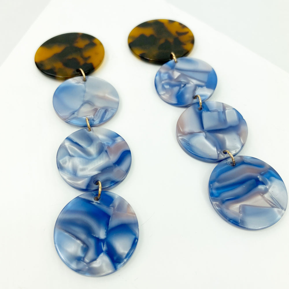 Dot Drop Earrings in Blue with Tortoise Stud