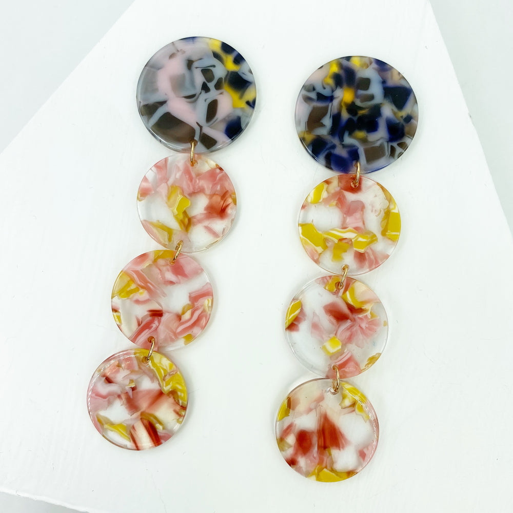 Dot Drop Earrings in Pink and Yellow with Pink and Purple Stud