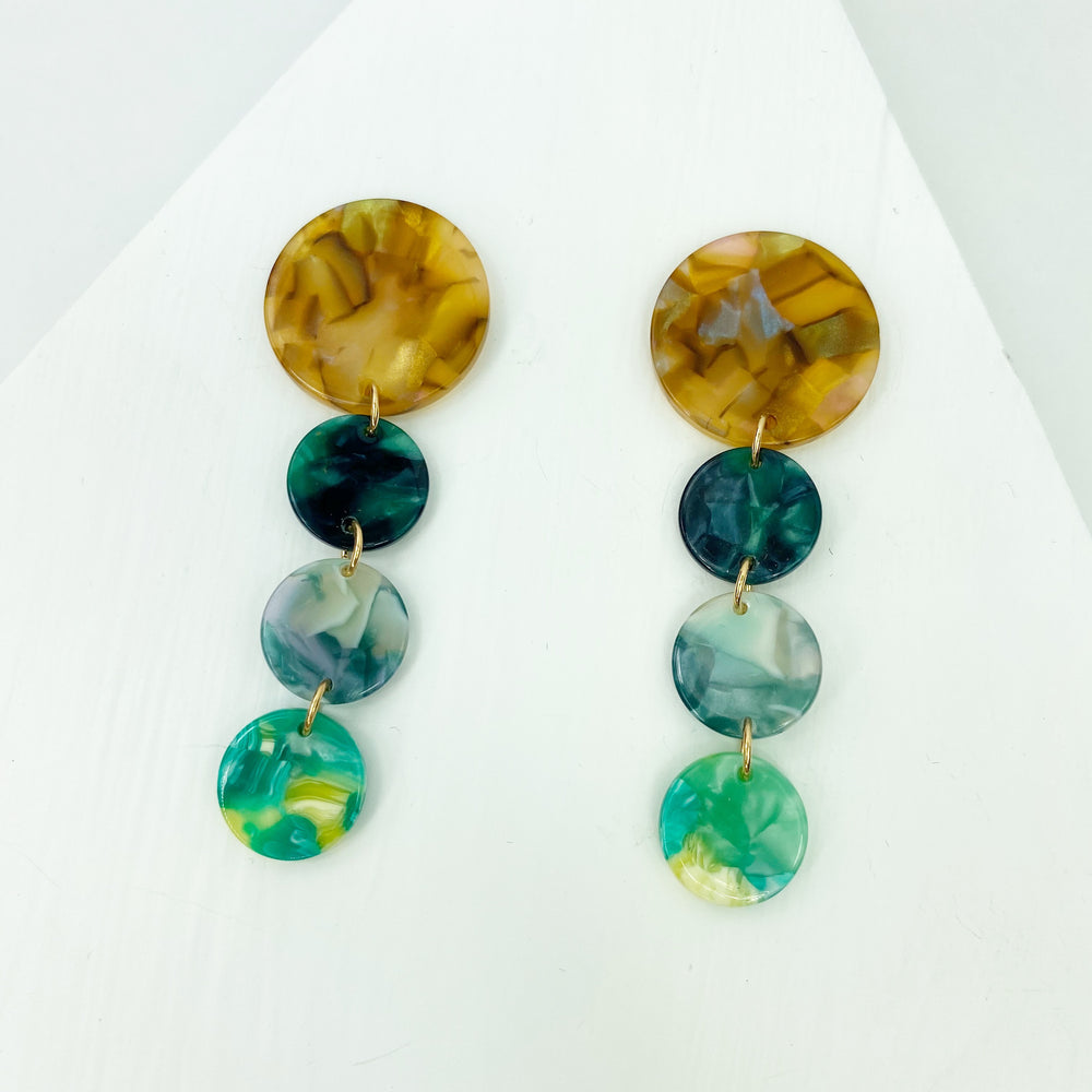 Dot Drop Earrings in Green Mix with Iridescent Camel Stud