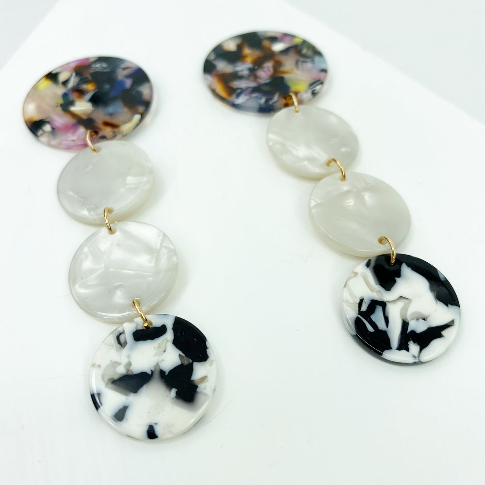Dot Drop Earrings in Black and White with Multi Stud