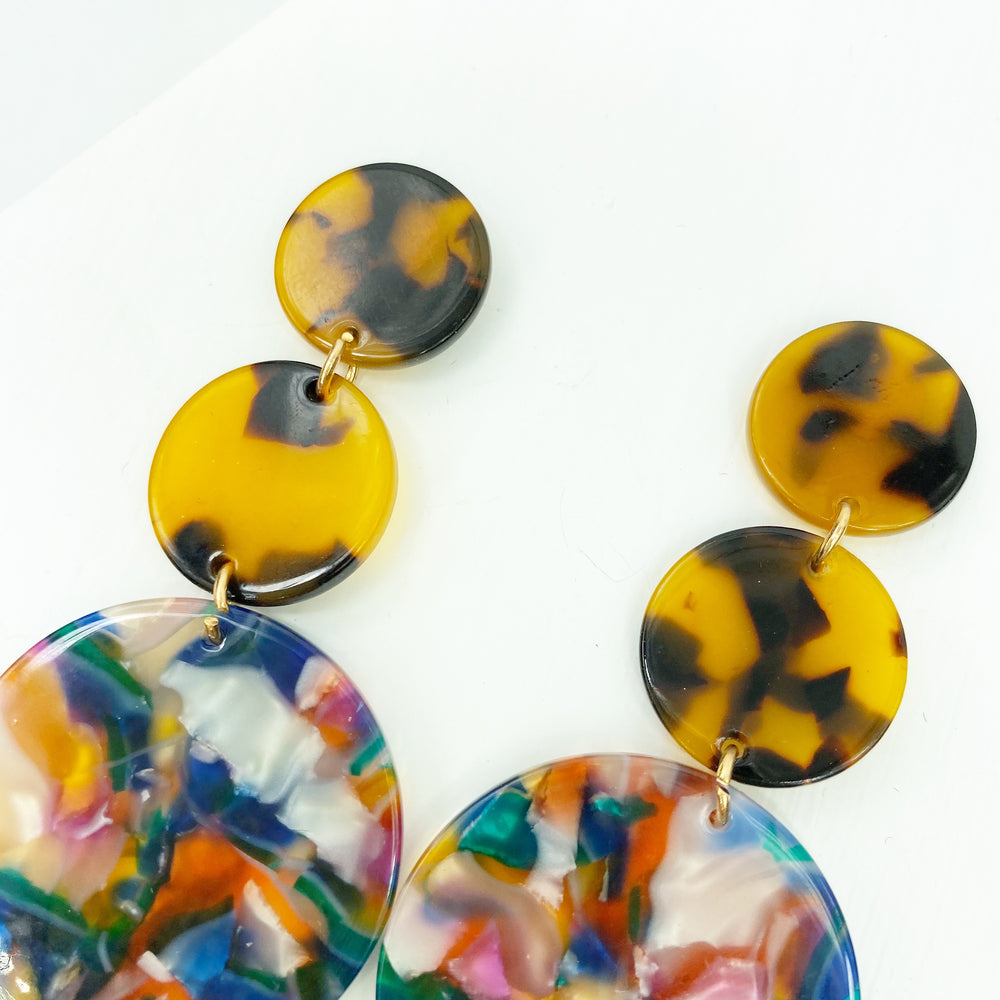 Dot Drop Earrings in Multicolor with Tortoise Stud