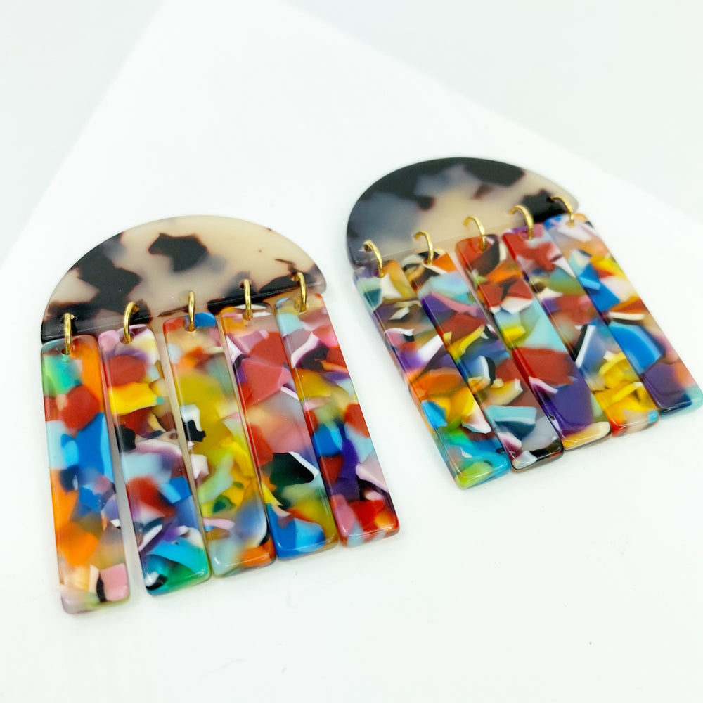 Half Moon Earrings in Blond Tortoise with Multicolor Fringe