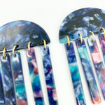 Half Moon Earrings in Dark Blue with Pink and Blue Fringe