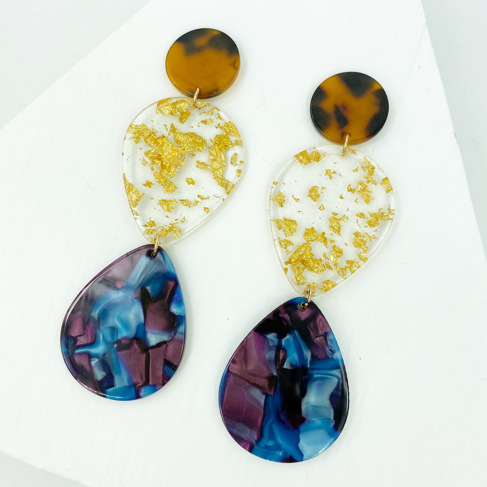 Double Teardrop Earrings in Purple and Blue with Gold Fleck