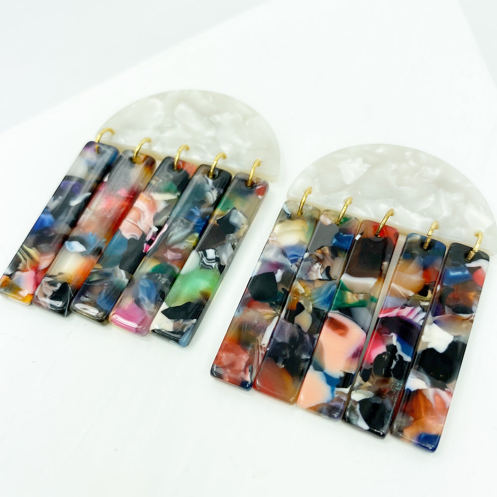 Half Moon Earrings in White with Dark Multicolor Fringe