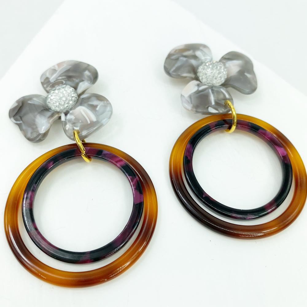 Crystal Water Poppy in Gray with Brown and Purple Double Drop Hoop