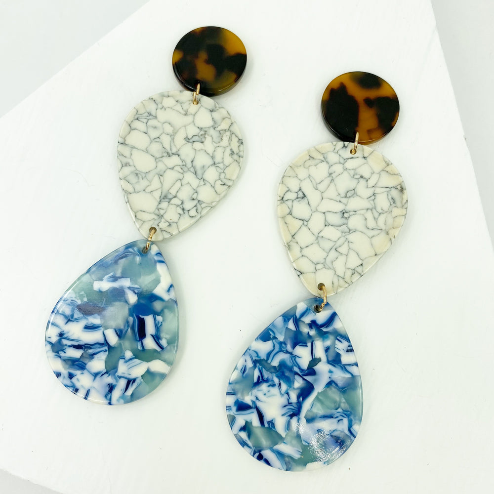 Double Teardrop Earrings in Blue and White with Gray Crackle
