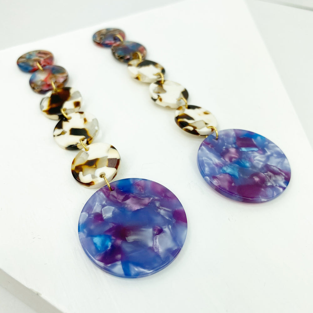 Dot Drop Earrings in Brown, White, Purple and Pink with Purple Stud