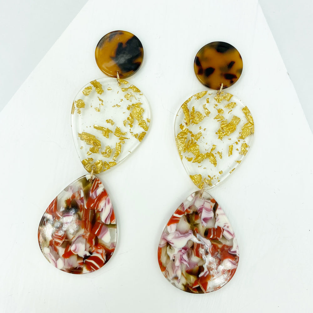 Double Teardrop Earrings in Red and White with Gold Fleck