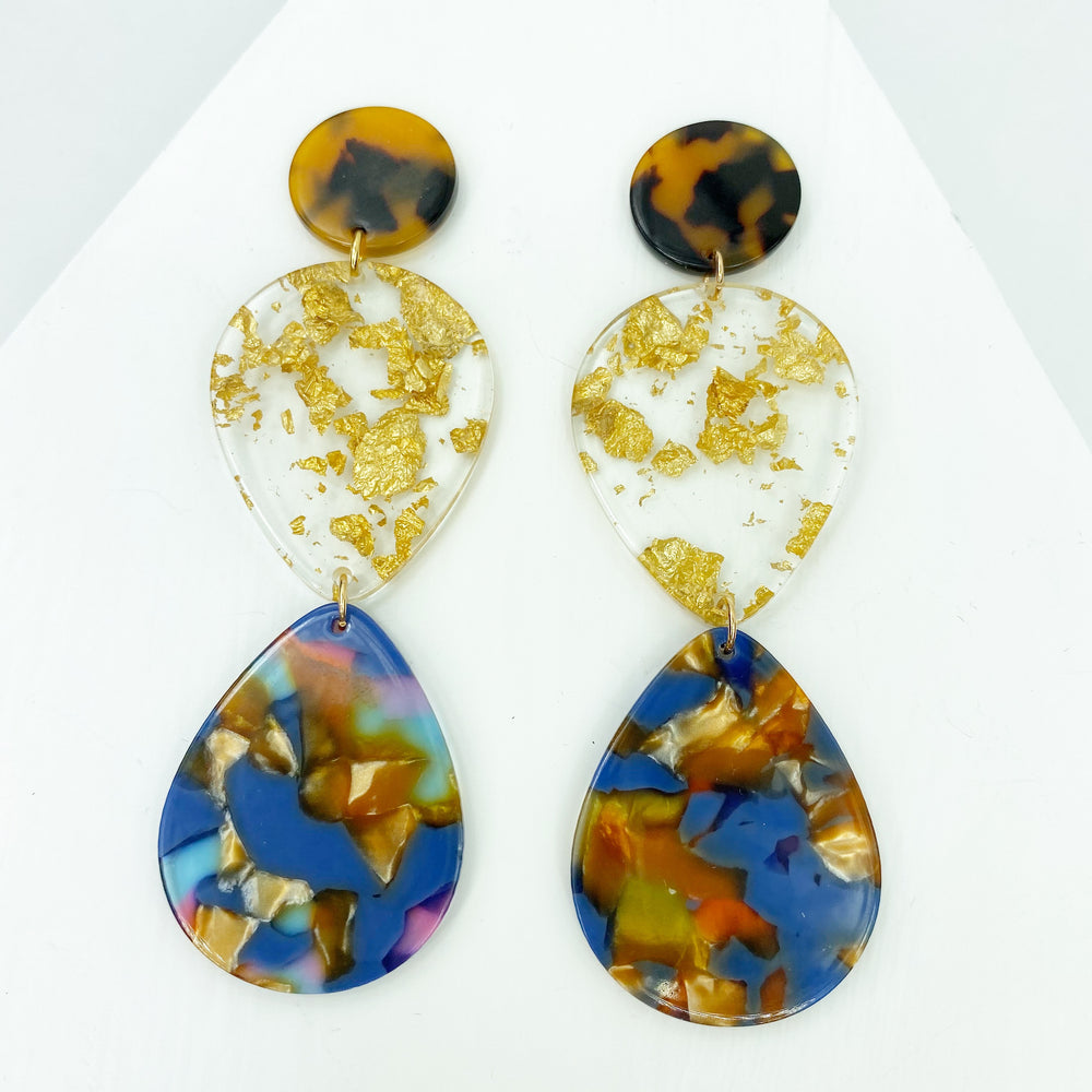 Double Teardrop Earrings in Blue, Pink and Amber with Gold Fleck