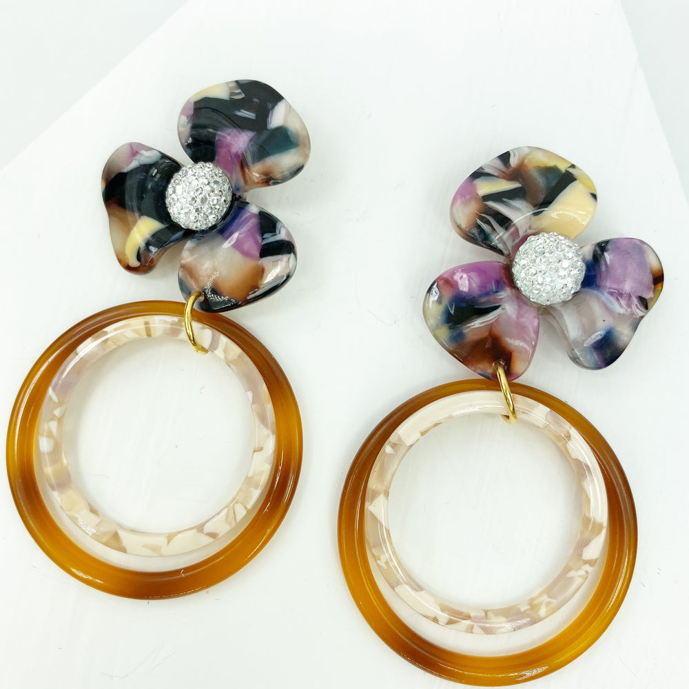 Crystal Water Poppy in Multicolor with Brown and Light Pink Double Drop Hoop