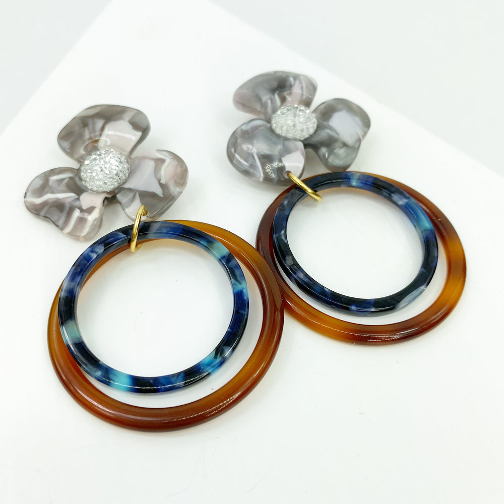 Crystal Water Poppy in Gray with Brown and Blue Double Drop Hoop