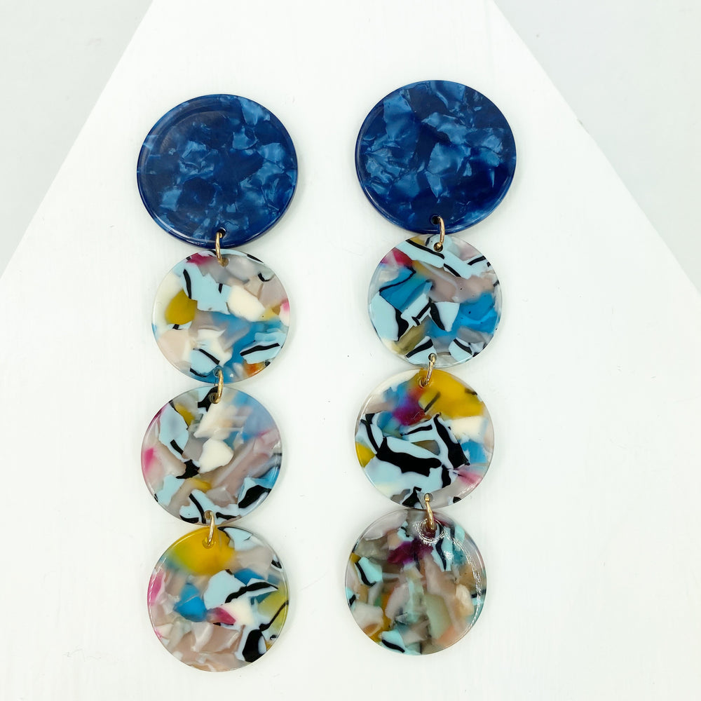 Dot Drop Earrings in Blue Mix with Blue Stud