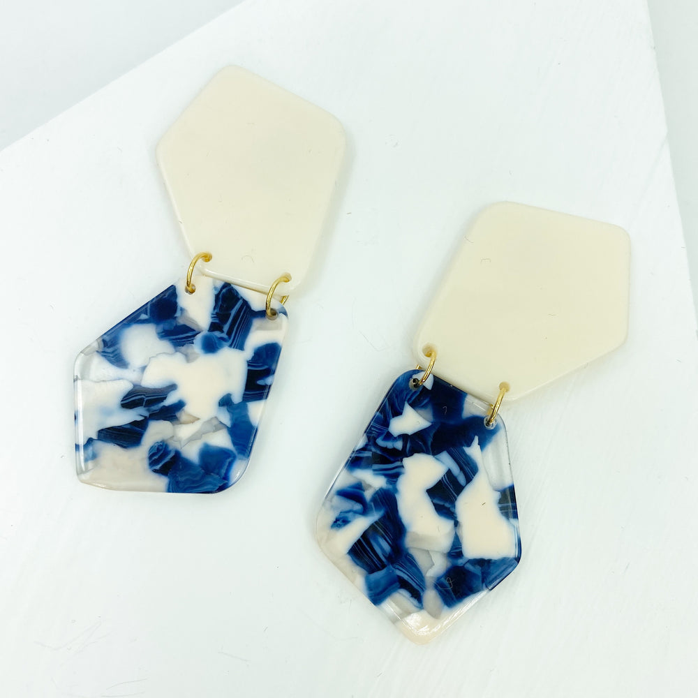 Double Shield Drop Earrings in Blue and White with Cream Stud